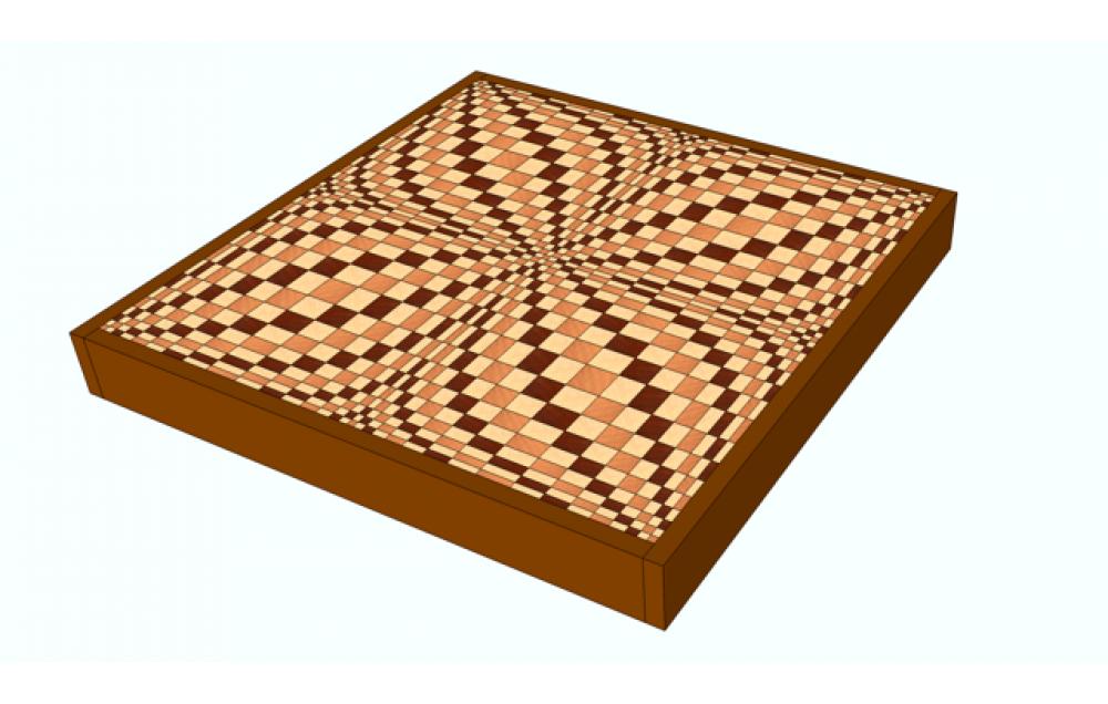 Multicolor Butterfly 3D end grain cutting board