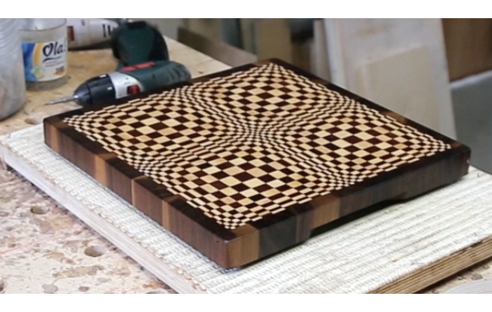 "A ""Butterfly"" 3D end grain cutting board for 12"" planer"